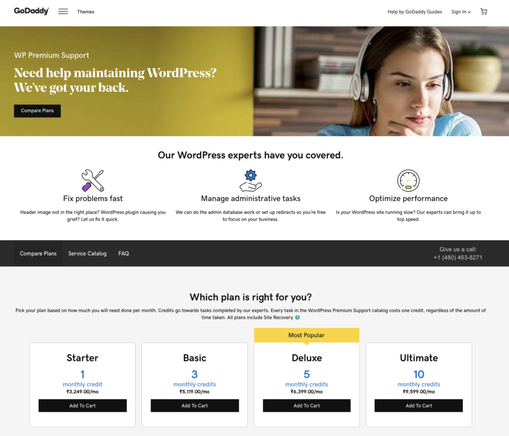 GoDaddy WordPress Maintenance - productized service
